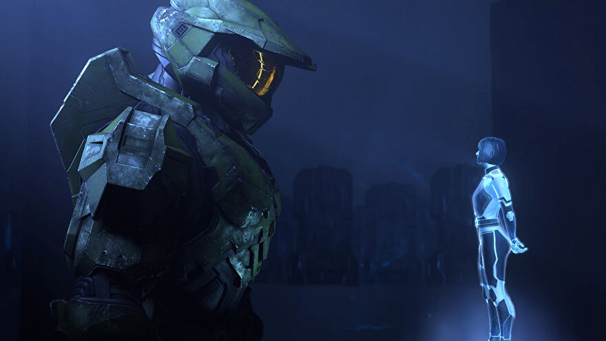 Master Chief and his new tamagotchi in a Halo Infinite screenshot.