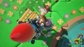 Woody and Buzz fly into the air in Toy Box world.