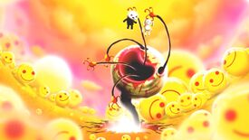 Happy Game - At the center of a psychedelic pink and yellow room full of smiley faces a smiley face monster with a bloody lips and long arms coming out of its mouth and eye sockets holds a small boy and a toy bunny above its gaping, horrible mouth.