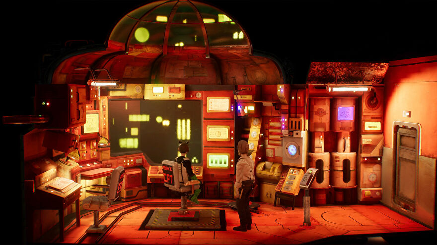 Harold Halibut - Two clay characters stand at the center of a handmade space ship control room set looking at a large wall monitor surrounded by control dash lights.