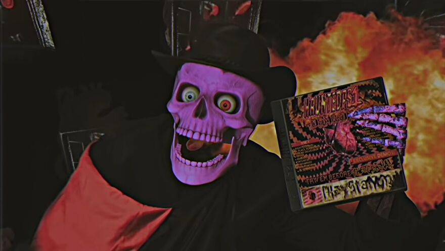 """A purple skeleton in a black cape and hat holds a CD case labelled """"Haunted PS1"""""""