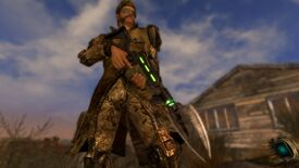 A man holds a gun with a spade attachment on the end of it in Fallout: New Vegas