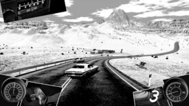 Heading Out - In all black and white a car swerves on a desert highway. Comic book style panels show the car's radio, odometer, pedals, and gear shift around the edges of the screen.