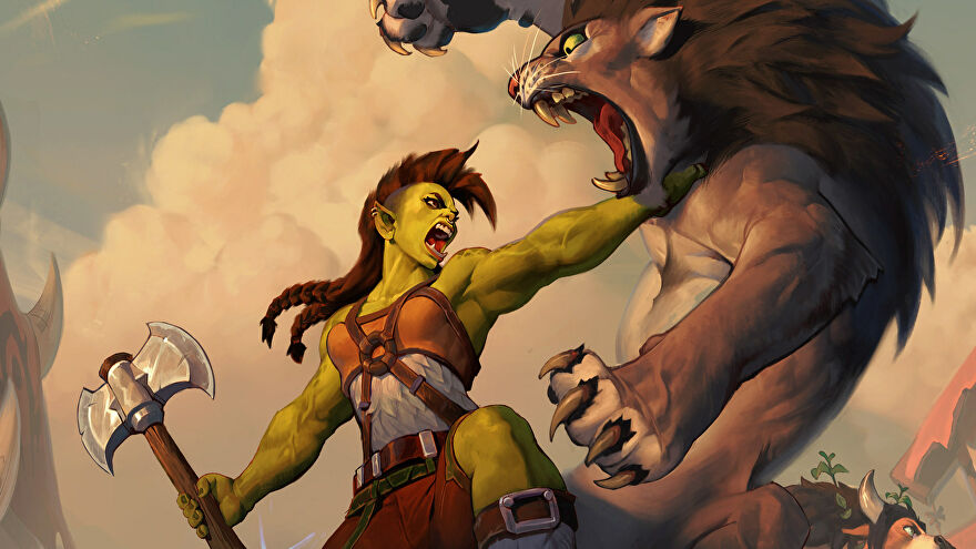An orc fights a lion in Hearthstone: Forged In The Barrens art.
