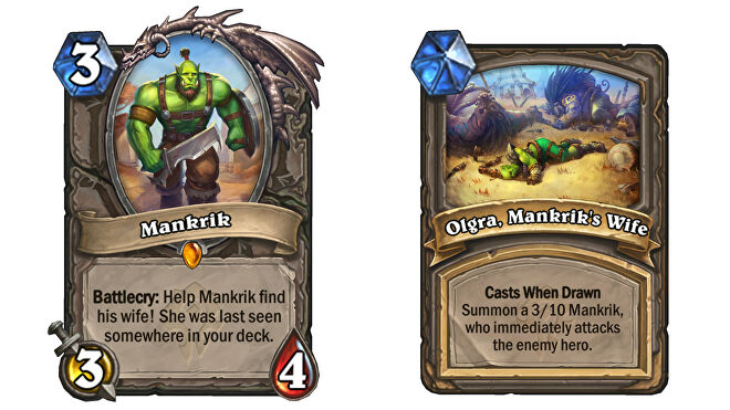 Cards for Mankirk and his wife in Hearthstone: Forged In The Barrens.
