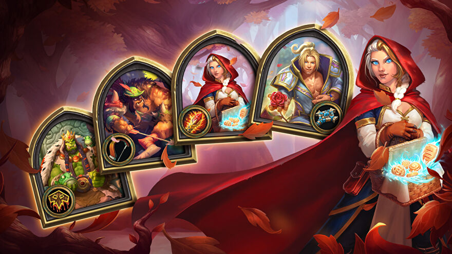 Nice autumnal-looking cards in Hearthstone, next to a lady in a red hood.