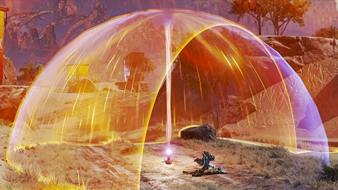 Apex Legend's new heat shield protecting a couple of Legends from the scary orange ring.