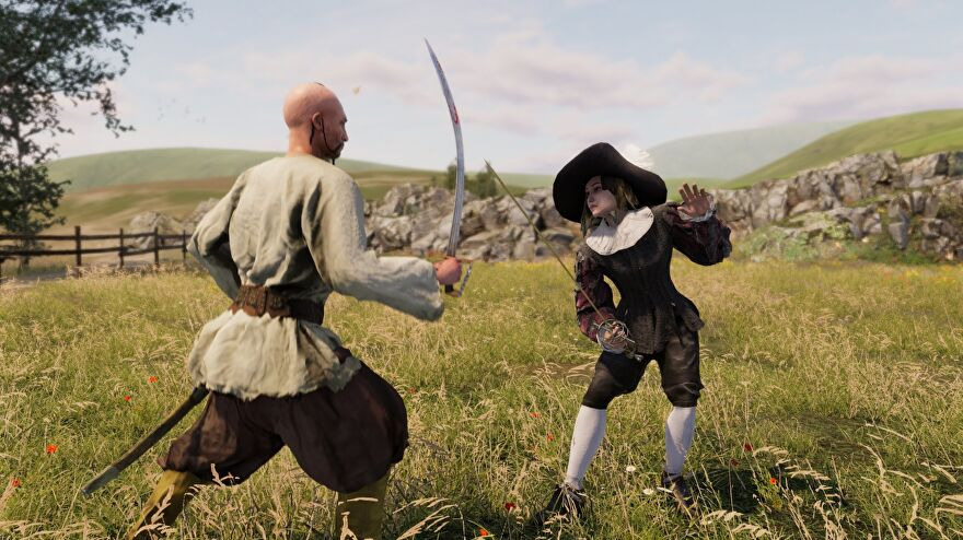 A screenshot showing two people fighting with swords in a field, one a bald man, one a woman, from the game Hellish Quart.