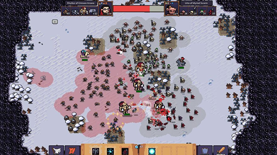 A screenshot of Hero's Hour showing a battlefield covered in pixel monsters.