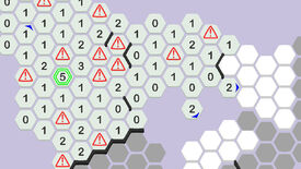A screenshot of Hexceed, showing a map of hexagons, some of which have been revealed with numbers and some with warning signs.