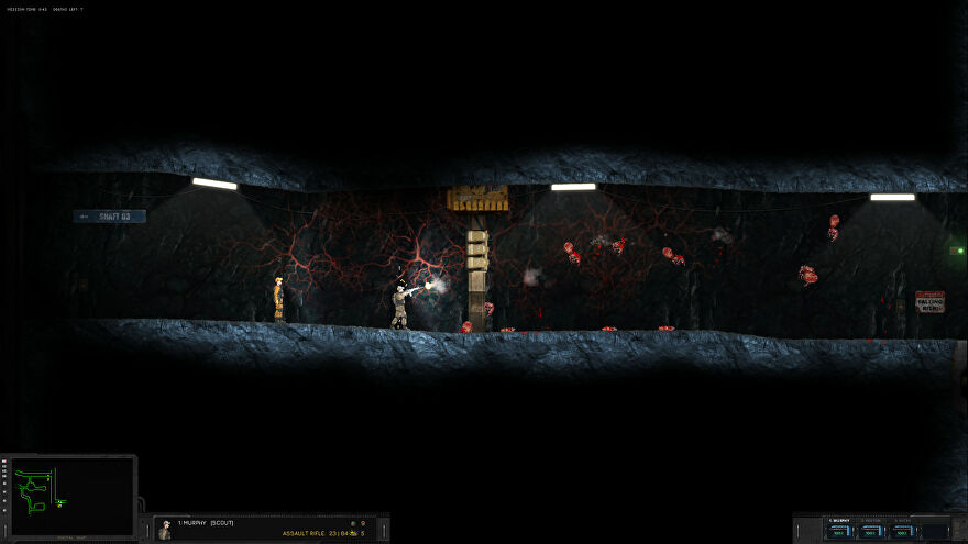 A screenshot of Hidden Deep showing two men from a 2D side-on perspective, one of which is shooting at a set of gristly aliens that seem to be clinging to a cavern wall.