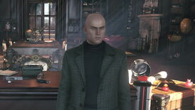 A screenshot of Agent 47 in Hitman 3's interactive Dartmoor benchmark