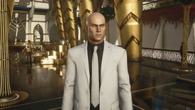 A screenshot of Agent 47 in a sharp looking suit from Hitman 3's Dubai level