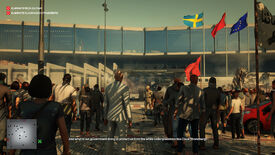A screenshot of Ian Hitman approaching the Swiss consulate in Marrakesh, moving past an angry crowd outside the glass front doors