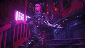 Hitman 3 - Agent 47 walking through Chongqing at night wearing a reflective Pride suit and carrying the DLC pride-themed gun.
