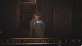 Agent 47 takes a mirror selfie in the Dartmoor level, dressed as a detective.