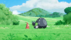 A close-up screenshot of a red fairy standing in front of a cute rhinoceros beetle in a grassy field in Hoa