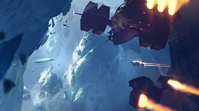 Concept art for an icy encounter in Homeworld 3.