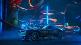 An image of a Hot Wheels Unleashed CG trailer, showing a gnarly car in the foreground and an out-of-focus twisty track in the background.