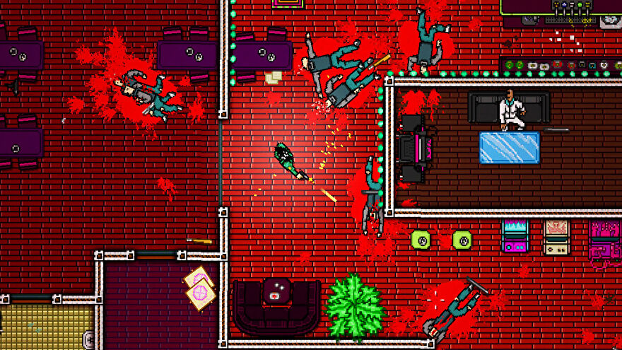 A character in Hotline Miami 2 Wrong Number firing their gun at an enemy, while there are dead bodies all around them
