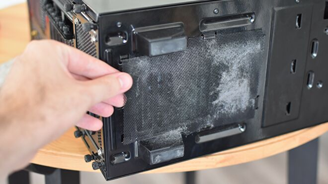 An image of a dirty PC case dust filter.