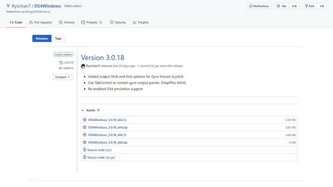 A screenshot of the DS4Windows downloads page on GitHub.