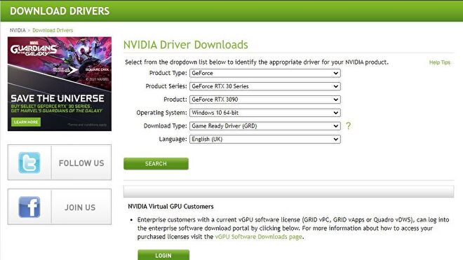 A screenshot of Nvidia's graphics driver download page.