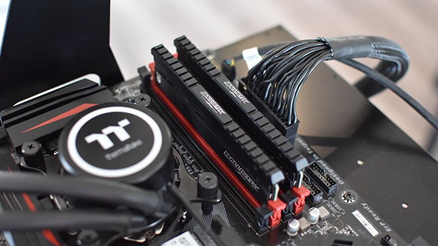 Two sticks of DDR4 RAM installed in a motherboard.