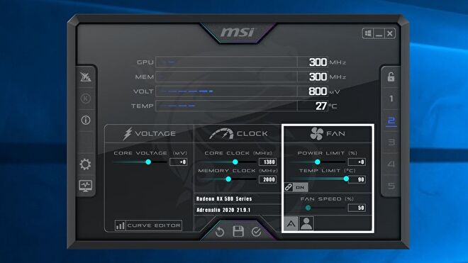 A screenshot of the MSI Afterburner software, highlighting the Fan control section.