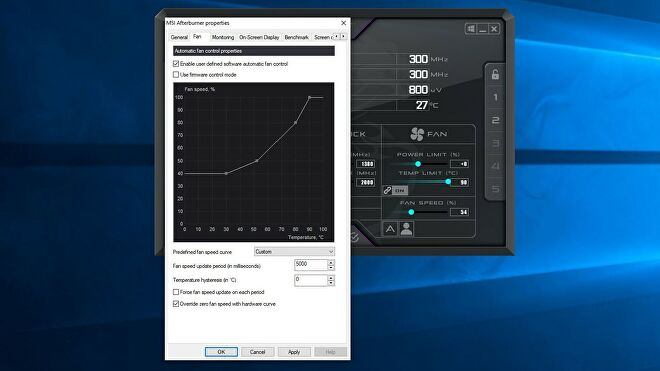 A screenshot of the MSI Afterburner software, showing where to enable manual fan control.
