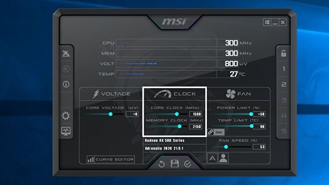 A screenshot of the MSI Afterburner software, highlighting the Core and Memory Clock Speed sliders.