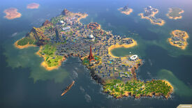 A Humankind screenshot high in the sky over a heavily urbanised island.