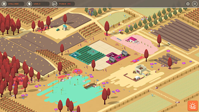 An isometric view of a colourful vineyard in Hundred Days: Winemaking Simulator
