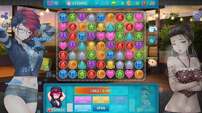 Two women stand either side of a jewel-filled match-three puzzle board in HuniePop 2
