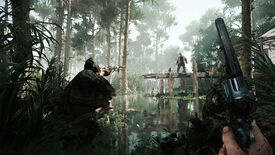 A Hunt: Showdown screenshot in which two players, waist-deep in swampwater, prepare to kill a Grunt standing on a pier in front of them.