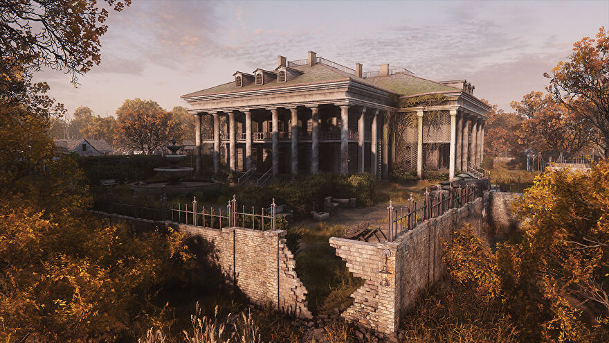 A screenshot of Hunt: Showdown's new map, De Salle, showing a large building with columns and an overgrown surrounding.