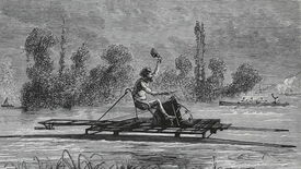 A black and white illustrated image of a man riding a hydrocycle on a lake, waving his hat in the wind
