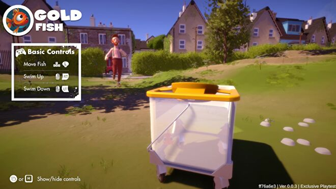 A goldfish in a mop bucket desperately rolls away from a disgruntled man in I Am Fish.