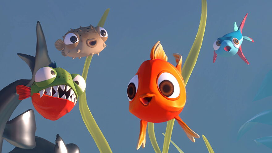 A goldfish, piranha, puffer fish, and flying fish from I Am Fish smile at the camera.