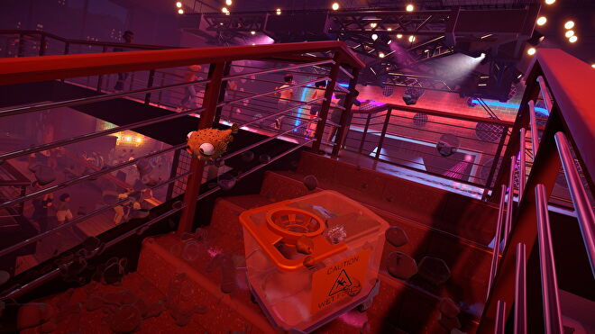 A puffer fish flings itself down the stairs of a nightclub in I Am Fish.