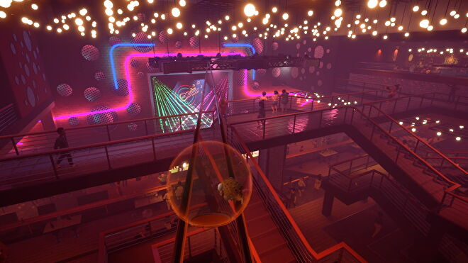 A puffer fish in a bowl rolls across the top of a nightclub in I Am Fish.