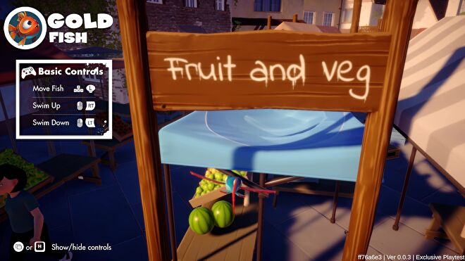 """A flying fish attempts to glide under a """"Fruit and Veg"""" sign in I Am Fish."""