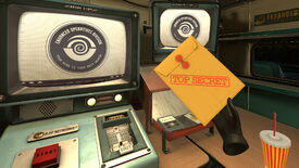 """I Expect You To Die 2 - A player's hand in VR holds a manilla envelope labeled """"Top secret"""" while sitting at a desk with CRT screens that say """"Enhanced Operatives Division"""""""