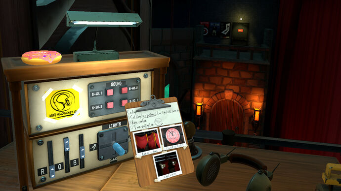 I Expect You To Die 2 - In first person, the player looks at a clipboard of tasks relating to a stage play while standing beside a control unit with lots of buttons and knobs.
