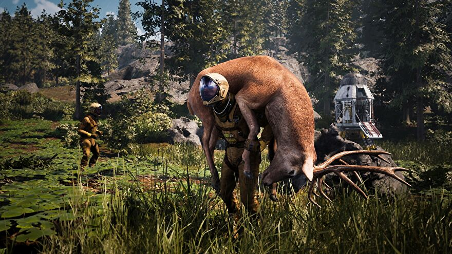 A screenshot of Icarus showing a man in a spacesuit carrying a deer on his shoulders, with a drop pod and a lot of trees in the background.