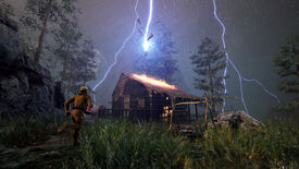 Icarus - a player in a yellow space suit runs towards a log cabin that's being strike by lightning during a storm in a forest.
