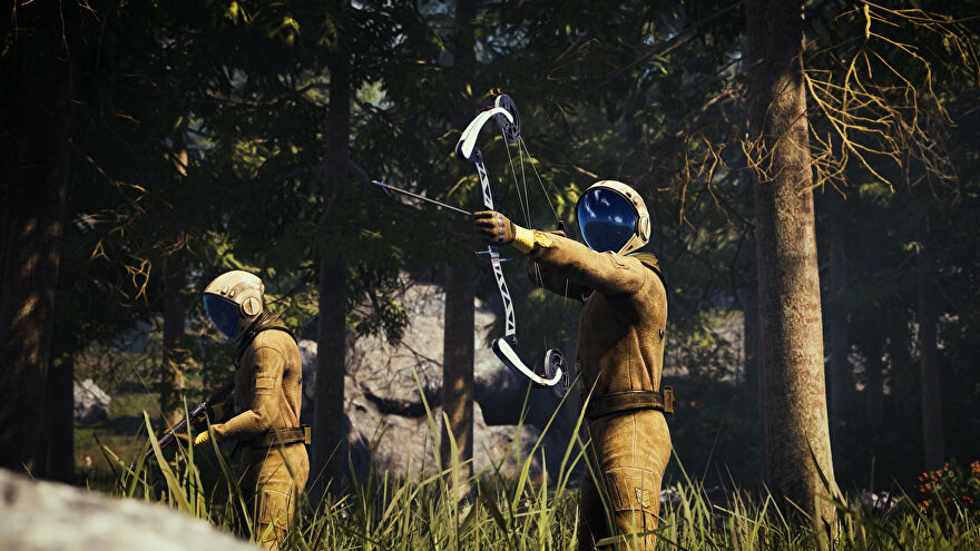 A space man draws a bow in a forest in Icarus