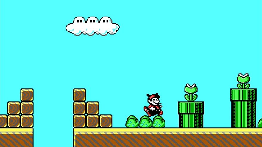Id Software's unreleased demo for a Mario 3 PC port - Mario jumps in the air near a warp pipe with a piranha plant in it.