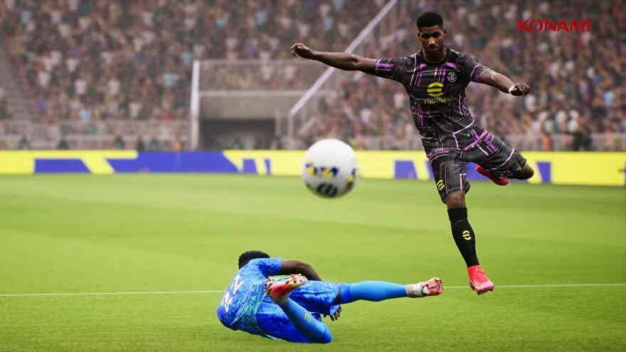 Two footballers dive and jump for the ball in Konami's eFootball