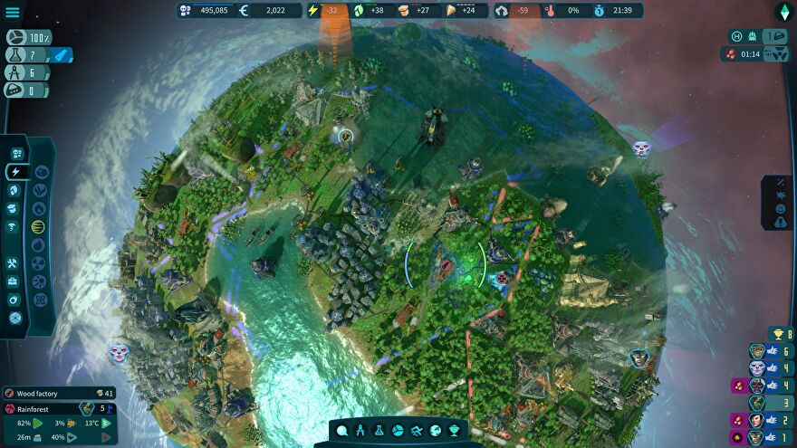 A screenshot from Imagine Earth showing the planet surface, focussed on a forested area